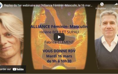Replay du 1er webinaire sur l'Alliance Féminin -Masculin, le 16 mars 2021